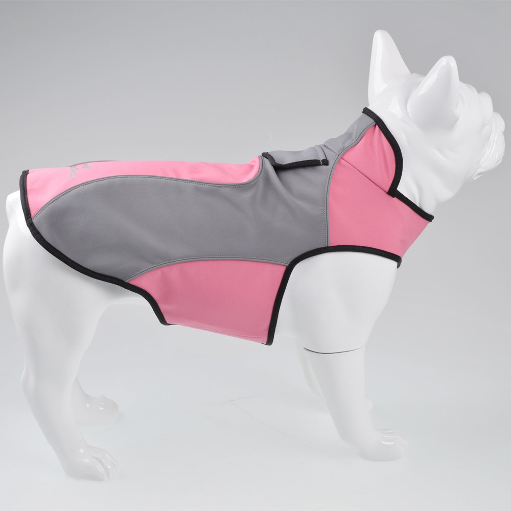 Fosinz Outdoor Waterproof Dog Jacket Dog Coat with Reflective Stripe (2XL( Neck:22.5'',Chest:33'',Length:24.5''), Pink) by Fosinz