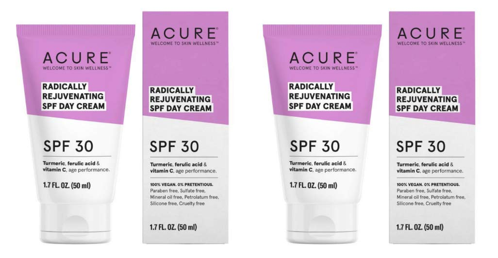Acure Organics Radically Rejuvenating SPF 30 Day Cream (Pack of 2) With Aloe Vera, Argan, Vitamin C, Shea Butter, Coconut Oil, Turmeric Root and Blue Tansy Flower, 1.7 fl. oz. each