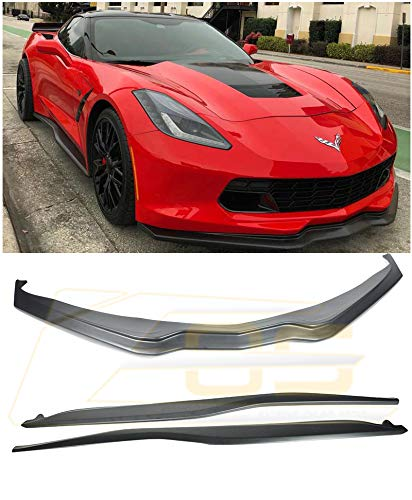 For 2014-Present Corvette C7 ALL Models | Z06 Performance Stage 2 Style ABS Plastic PRIMERED BLACK Front Bumper Lower Lip Splitter & Side Skirts Rocker Panels