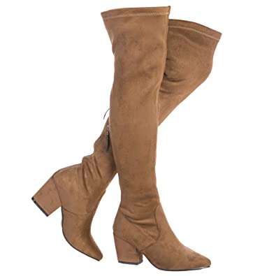 e90126f4c9f NNG Women Boots Winter Over Knee Long Boots Fashion Boots Heels Autumn  Quality Suede Comfort Square Heels US Size