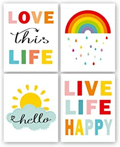 "Colorful Rainbow and Sunshine Quotes Art Print,Set of 4(8""x10) Inspirational Canvas Poster Painting,Weather Nursery Wall Art for Classroom Or Kid Room Home Decor,No Frame"