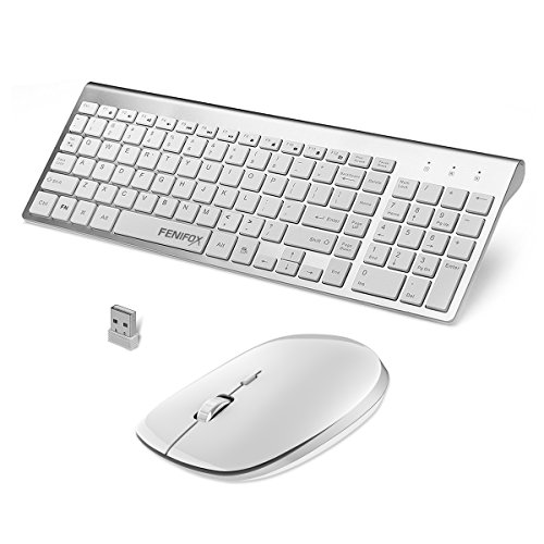 FENIFOX Keyboard and Mouse Wireless, Ultra Slim with Whisper-Quiet Keys for Laptop Notebook Mac PC Computer Windows OS Android – Silver