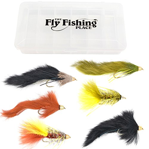Cone Head Streamer Fly Fishing Flies Assortment - Bass Big Trout Streamers Fly Fishing Fly Collection - 6 Flies Size 4 Fly Box -