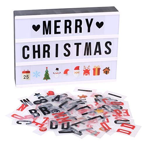 KOMOK A4 Size Cinematic Led Light Letters Board,Wall LED Message Board|96 Letters,Numbers&Emojis & 90 Christmas Cards|USB 6XAA Battery Powered|DIY Festival Decor