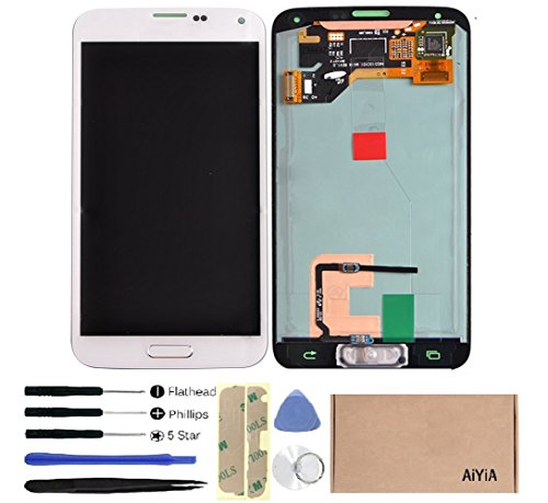 Display Touch Screen (AMOLED) Digitizer Assembly with Home Button for Samsung Galaxy S5 (SV) i9600 / G9001 / G900A / G900F / G900H / G900M / G900T / G900V / G900P / G900R4 / G9008V (for SAMSUNG Mobile Phone Repair Part Replacement)(Free Repair Tool Kits)  by AiYiA