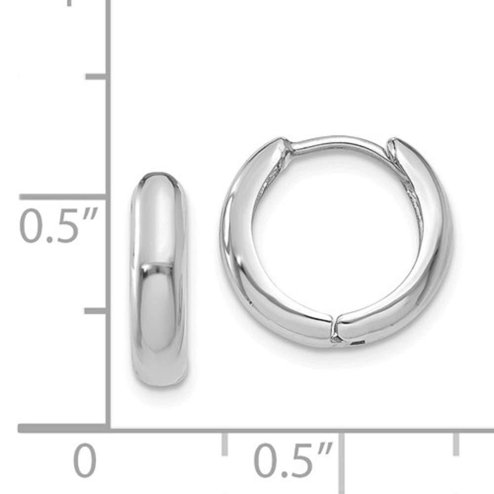 2458f83d053ec Small 14K Gold Huggie Hinged Hoop Earrings, 0.5 In (12mm) (3mm Tube)