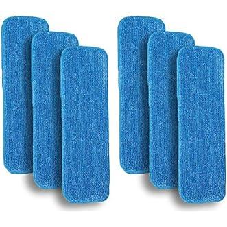 6 Blue Microfiber Mop Pads Refill Fits Bona,Bruce,Squeaky,Mercier,Mohawk,etc.