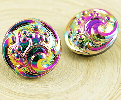 1pc Green Purple Vitrail Dichroic Small Flower Leaf Berry Round Handmade Czech Glass Button Size 8 18mm