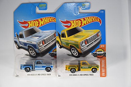 Hot Wheels 2017 HW Hot Trucks 1978 Dodge Li'l Red Express Truck 9/10, Set of 2 Cars: Lite Blue & Yellow 1978 Dodge Lil Red Express Truck