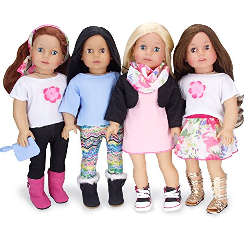 Sophia's 18 Inch Doll Sized Mix and Match Spring Set Blue and Pink Doll Clothes, Complete Wardrobe with 9 Pieces | Budget Friendly Line