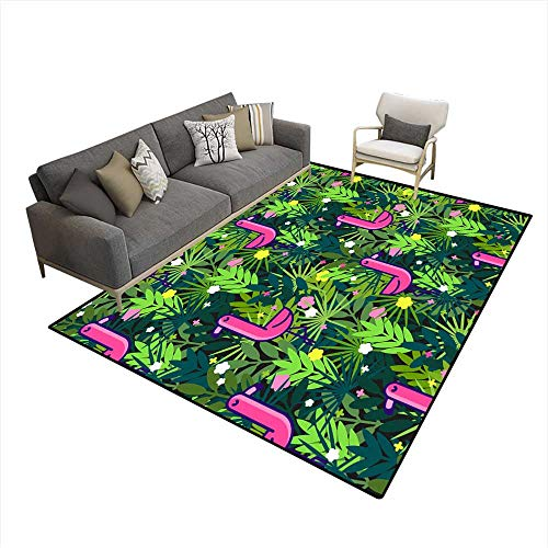 Area Rugs for Bedroom Tropical Seamless Pattern with Pink Flamingos and Palm Leaves Design for Fabric Wallpaper Textile and Decor ()