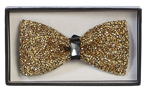 Men's Premium Metallic and Rhinestone Bow Ties for Suits and Tuxedos - Many Colors (Rhinestone All Gold)