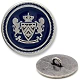15mm Metal Lion Crest Blazer Button with Shank by 2pcs, Silver/Navy, SAN-2432Z