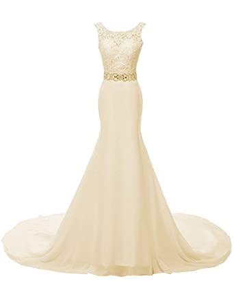 943b143d02307 SOLOVEDRESS Women's Organza Scoop Lace Wedding Dress Evening Dress Bridal  Gown (US 2, Champagne