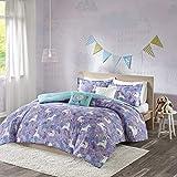 Urban Habitat Kids Lola Full/Queen Comforter Sets for Girls - Purple, Aqua, Unicorns – 5 Pieces Kids Girl Bedding Set – 100% Cotton Childrens Bedroom Bed Comforters