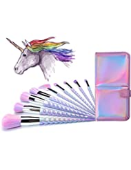 Ammiy Unicorn Makeup Brushes With Colorful Bristles Unicorn Horn Shaped Handles Fantasy Makeup Tools Foundation Eyeshadow Unicorn Brush Kit With a Cute Iridescent Carrying Case(10 Pieces)