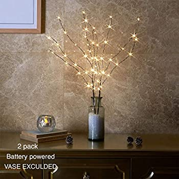 Vanthylit 2PK 30in Twig Brown Branch with a Thin Layer of Snow with Fairy LED Lights 50LED Battery Operated Lighted Decoration Indoor Outdoor Use(Vase Excluded)