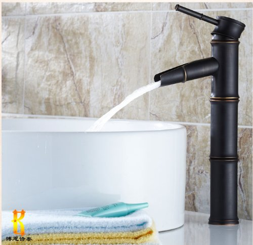 Bamboo Joint Waterfall Oil Rubbed Bronze Bathroom Vessel Faucet Single Lever Mixer Tap