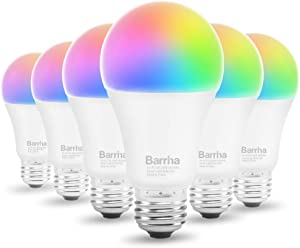 Barrina Smart WiFi LED Light Bulbs,Compatible with Alexa and IFTTT(No Hub Required),RGB, 2800K to 6500K,Warm to Cool White Dimmable, 90W Equivalent, 9W E26 A19 Color Changing Bulb, 6Pack