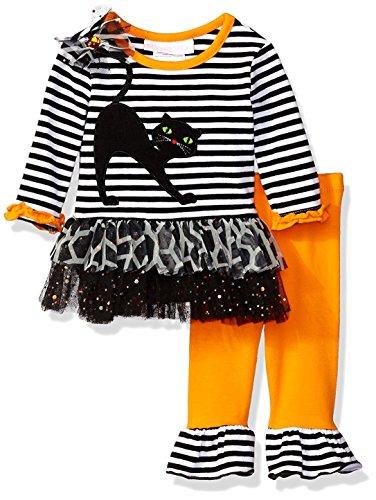 Clearance Costumes Halloween (Bonnie Baby Girls' Halloween Appliqued Legging Set, Cat, 6-9)