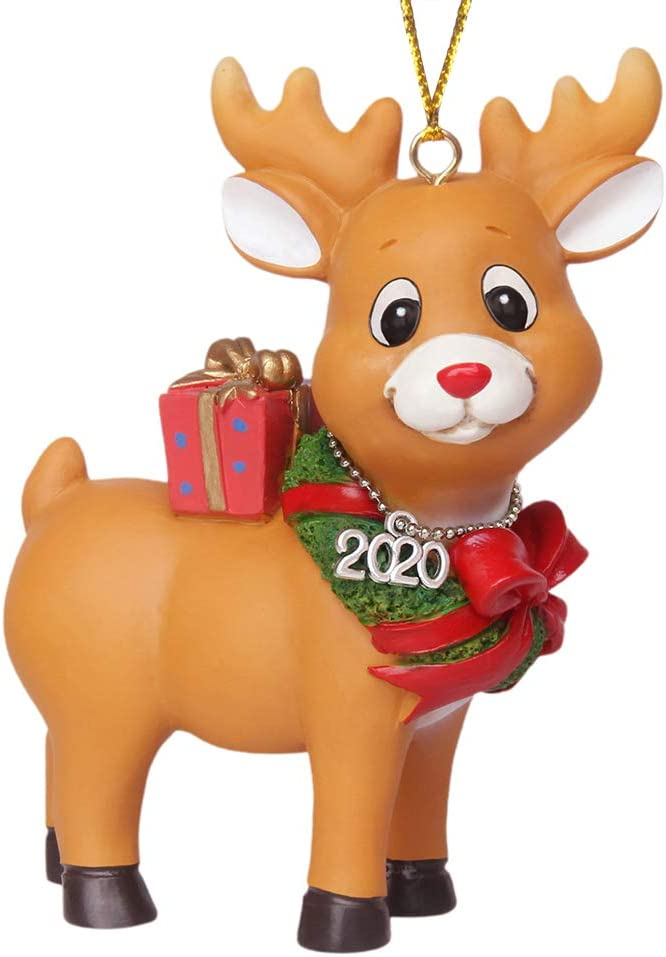 NIWUSUO Rudolph The Red Nosed Reindeer Hanging Figurine 2020 Christmas Ornaments (Rudolph with Xmas Wreath)