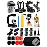 Opteka X-Grip Stabilizer + Head Strap + Chest Strap + Car Suction Cup + Flexible Tripod + Floating Bobber + Action Handgrip + Dog Strap + Case + More For GoPro Hero4 Cameras