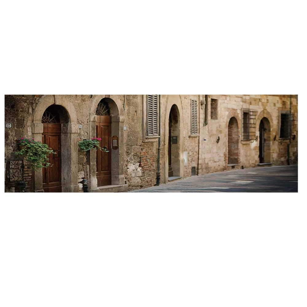 """Landscape Dustproof Electric Oven Cover,Street Wine Old Antcient House in Italy Tuscany on a Street with Floral Details Cover for Kitchen,36""""L x 12""""W"""