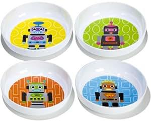 French Bull - BPA Free Kids Bowls - Melamine Kids Bowl Set - Kids Dinnerware - Robot, Set of 4