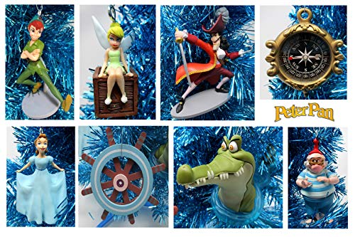 Peter Pan And Tinkerbell (Ornament Peter PAN Christmas Tree Set Featuring Peter Pan and Friends - Unique Shatterproof Plastic)