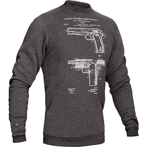 281Z Tactical Warm Sweatshirt - Military Outdoor Casual - Colt 1911 Gun Patent Print - Fleece Pullover (X-Large, Grey M1911)