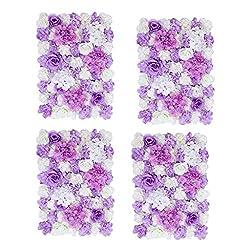 4pcs Artificial Flower Wall Wedding Flower Pillar Main Road Decor Purple