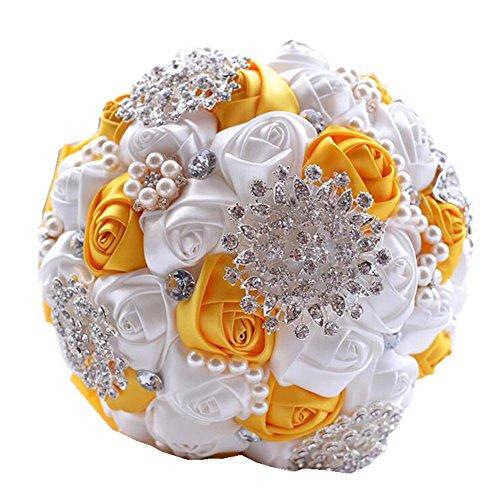 Wedding Flowers Bridal Bouquets Elegant Pearl Bride Bridesmaid Wedding Bouquet Crystal Sparkle - Bridal Bouquet Orange