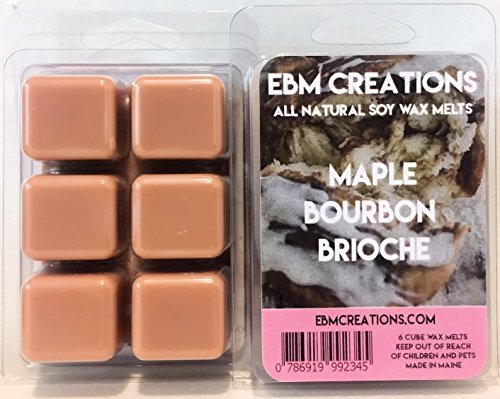 Maple Bourbon Brioche - Scented All Natural Soy Wax Melts - 6 Cube Clamshell 3.2oz Highly Scented! ()