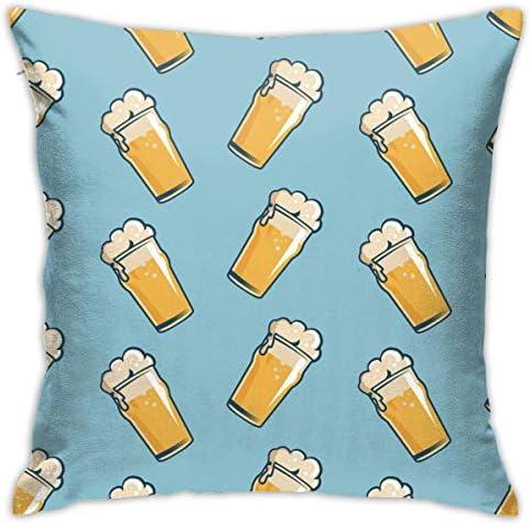 ビールガラスシームレスパターン手描きレトロスロー枕カバーコットンポリエステルクッションカバーケース枕カバーソファ家の装飾18 x 18インチ45cm