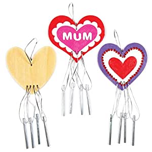 Baker Ross Heart Wooden Wind Chime Decoration Kits - Windchime Bells for Children to Make and Decorate for Valentines or Mothers Day (Pack of 4)