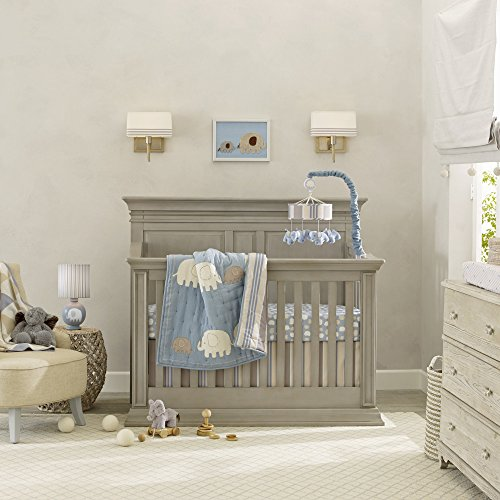 - Lambs & Ivy Signature Elephant Tales 4 Piece Bedding Set - Blue/Gray