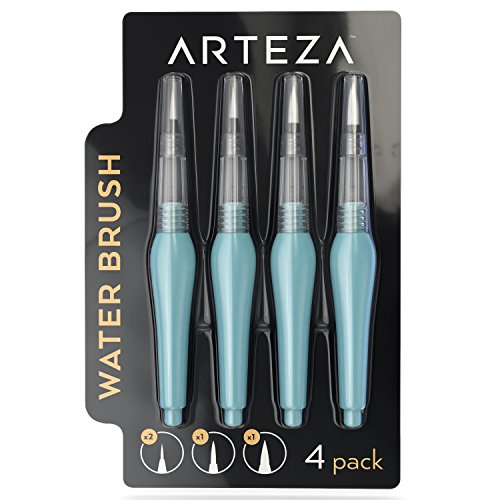 - Arteza Water Brush Pen - Self-moistening - Portable - Watercolor - (Assorted Tips, Set of 4)