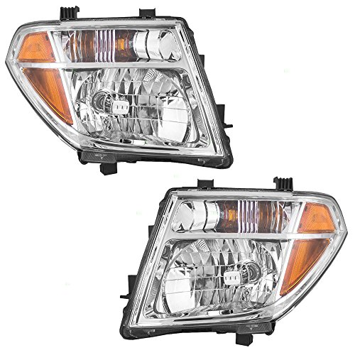 Pair Halogen Combination Headlights Headlamps Replacement fits 05-07 Nissan Pathfinder & 05-08 Frontier 26060EA525 26010EA525 AutoAndArt ()