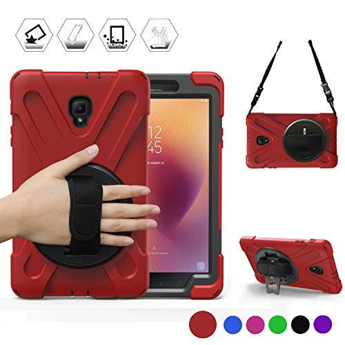 Durable Rugged Case - Tab A 8.0 T380 Case, BRAECN Three Layer Heavy Duty Soft Silicone Hard Bumper Case Built-in Stand Shockproof Durable Rugged Case for Samsung Galaxy Tab A8.0 2017 SM-T380/T385 Samsung Tab A2 S 2017(Red)