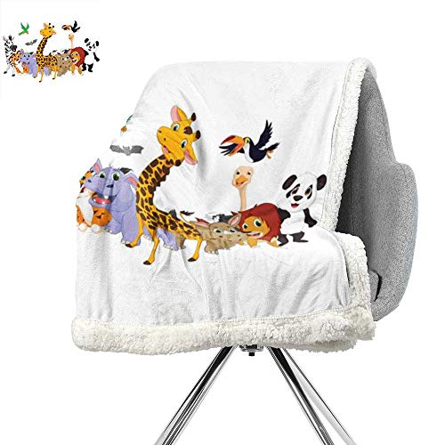 - ScottDecor Kids Flannel Bed Blankets,Colorful Jungle Animals Hippo Bat Parrot Giraffe Zebra Rhino Panda African Safari Themed Decorations,Super Soft Blanket for Coach,Sofa,Bed W59xL78.7 Inch