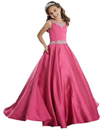 JinJia Girl Long Prom Dress Jewel Neck Graduation Pageant Gown Dresses 2 US Hot Pink