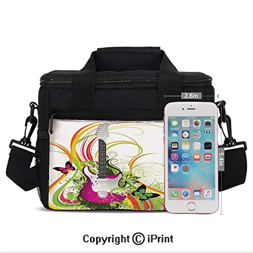 Insulated Lunch Bags For School With Bottle Holder Musical Composition with a Guitar Colorful Ornament Flourishes Plant Curl Kids Lunch Box Snacks Tote Lunch Containers 3D Print ()