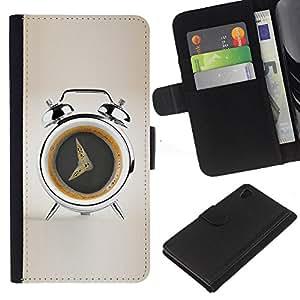 Planetar® Modelo colorido cuero carpeta tirón caso cubierta piel Holster Funda protección Para Sony Xperia Z4 / Sony Xperia Z4V / E6508 ( Coffee Alarm Funny )