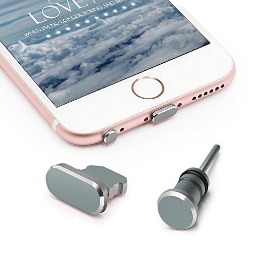 iMangoo Anti Dust Plug Set for iPhone Charging Port Plug and 3.5mm Earphone Plug with Case for Easy Storage Protect Cell Phone Charge Port and Headphone Jack for iPhone 5 - Plugs Aluminum Dust