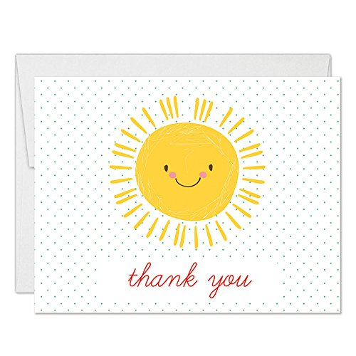 Baby Shower Thanks! Happy Yellow Sunshine Thank You Cards with Envelopes ( Pack of 25 ) Sunny Smile Boy Girl Infant Son Daughter Mommy-To-Be Notecards Thanks for Newborn Gifts Excellent Value VT0077B ()