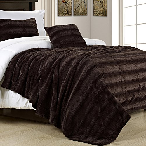 Swift Home Micro-Mink Full/Queen Faux Fur Blanket, Mink ()