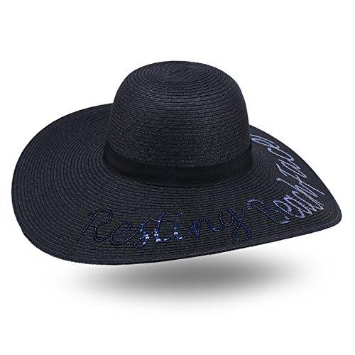 JOOWEN Women Sequined Beach Sand Wide Large Brim Straw Floppy Cap Sun Hat (Sequined Straw)