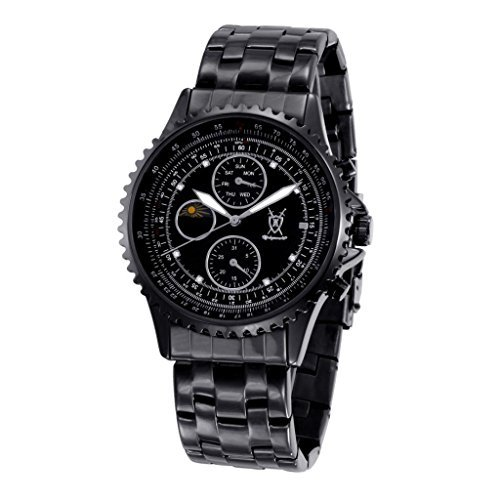 Konigswerk Men's Watch Black Bracelet Black Dial Multifunction Day Date Sun Moon SQ201438G