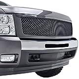 07 silverado black grill - E-Autogrilles 07-13 Chevrolet Silverado 1500 Black Carbon Fiber Look ABS Replacement Mesh Grille Grill with Shell (41-0118CF)