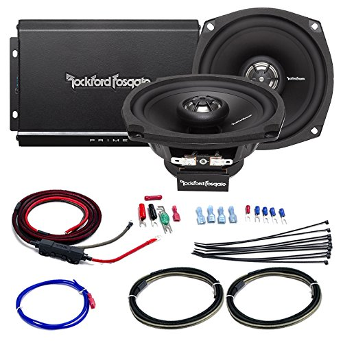Car / Marine Amp Combo: Rockford Fosgate R1-HD2-9813 Prime 140 Watt 2-Channel Marine Car Motorcycle Amplifier and 2x 5.25
